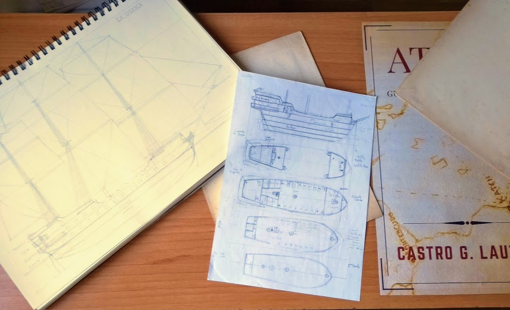 Sketches of ships for my first novel